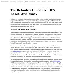 The Definitive Guide To PHP's isset And empty