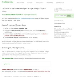 Definitive Guide to Removing Google Analytics Spam - Analytics Edge Help