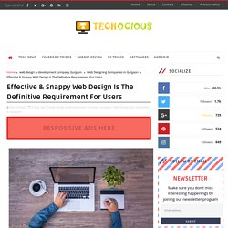 Effective & Snappy Web Design Is The Definitive Requirement For Users