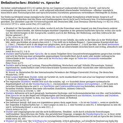 Definitorisches: Dialekt v Sprache (Sammlung, W. Näser 10/2k)