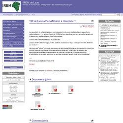135 défis (mathématiques) à manipuler ! - IREM de Lyon