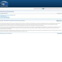 PARLEMENT EUROPEEN - Réponse à question E-013296-15 Déforestation et production d'huile d'olive européenne