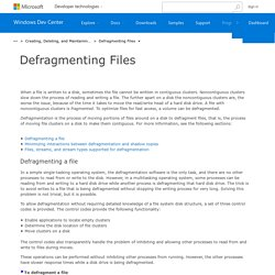Defragmenting Files (Windows)