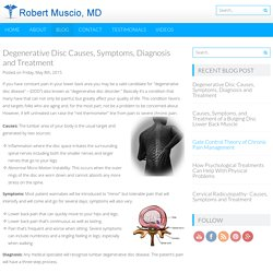 Degenerative Disc Causes, Symptoms, Diagnosis and Treatment