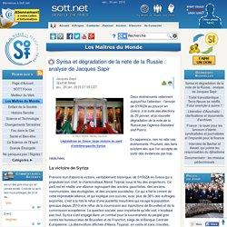 Syrisa et dégradation de la note de la Russie : analyse de Jacques Sapir