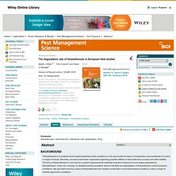 PEST MANAGEMENT SCIENCE 19/05/15 The degradation rate of thiamethoxam in European field studies