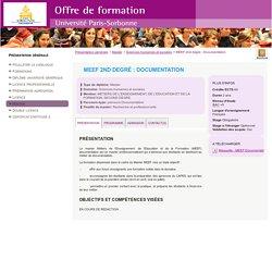 MEEF 2nd degré : Documentation - Paris Sorbonne