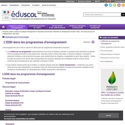 2nd degré - L'EDD dans les programmes d'enseignement