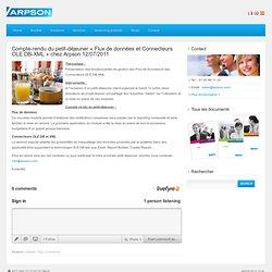 Compte-rendu du petit-déjeuner «Flux de données et Connecteurs OLE DB-XML» chez Arpson 12/07/2011
