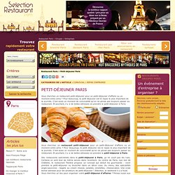 Petit déjeuner Paris : Les meilleurs petits déjeuners à Paris