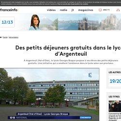 FRANCE 3 16/10/17 Des petits déjeuners gratuits dans le lycée d'Argenteuil