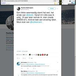 """Pauline Dekhuijzen on Twitter: """"Een tikkie weemoedig stemt het wel, het einde van @dwdd. Vanaf m'n 22e was ik erbij, 10 jaar later vertrok ik: man (mede DWDD-er!), kind en bak aan ervaring rijker. Mooi stuk van @volkskrant:"""
