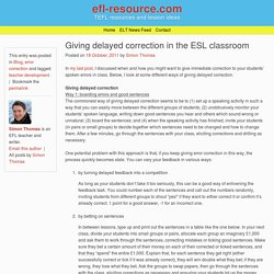 Giving delayed correction in the ESL classroom