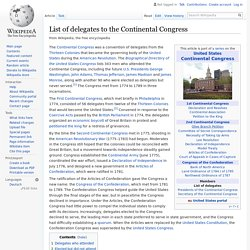List of delegates to the Continental Congress - Wikipedia