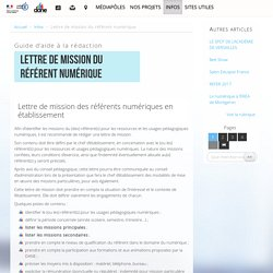 Lettre de mission du référent numérique - Délégation académique au numérique éducatif