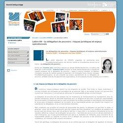 Lettre 09 - La délégation de pouvoirs : risques juridiques et enjeux opérationnels