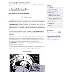 1. Rôle du Délégué de classe - Collège René Descartes