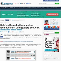 Delete a Record with animation fade-out effect using jQuery and Ajax.
