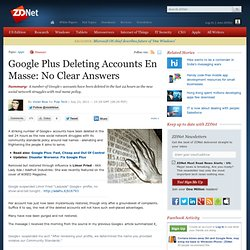 Google Plus Deleting Accounts En Masse: No Clear Answers