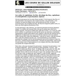 Anti Oedipe et Mille Plateaux: 16/11/1971
