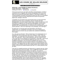 Anti Oedipe et Mille Plateaux: 14/01/1974