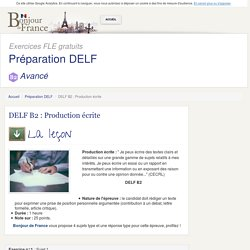 DELF B2 : Production écrite