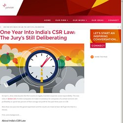 One Year Into India's CSR Law: The Jury's Still Deliberating