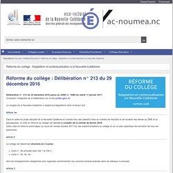 Réforme du collège : Délibération n° 213 du 29 décembre 2016 - Vice-rectorat de la Nouvelle-Calédonie