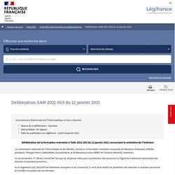 Délibération SAN-2021-003 du 12 janvier 2021
