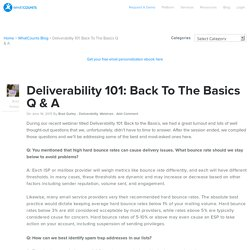 Deliverability 101: Back To The Basics Q & A