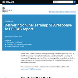 Delivering online learning: SFA response to FELTAG report