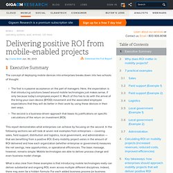 Delivering positive ROI from mobile-enabled projects