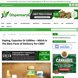 Vaping, Capsules Or Edibles – Which Is The Best Form of Delivery For CBD?