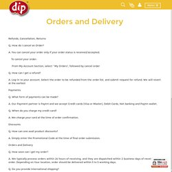 Orders & delivery - Frequently Asked Questions