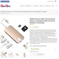 GN30H Premium USB-C Hub with Power Delivery 3 SuperSpeed USB 3.0 Ports for MacBook 12-Inch(Gold) - QacQoc Official Website