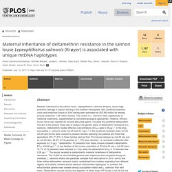 PLOS 12/07/17 Maternal inheritance of deltamethrin resistance in the salmon louse Lepeophtheirus salmonis (Krøyer) is associated with unique mtDNA haplotypes