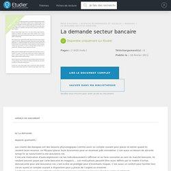 La demande secteur bancaire - Compte Rendu - Missalex