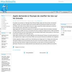 Apple demande à l'Europe de clarifier les lois sur les brevets