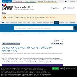 Demande d'extrait de casier judiciaire (bulletin n°3)