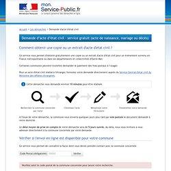 Demande de copie d'acte d'état civil