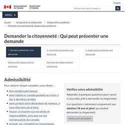 Demander la citoyenneté : Qui peut présenter une demande