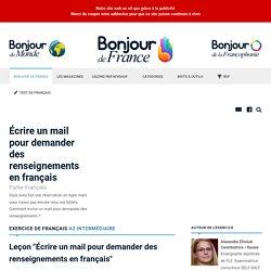 Écrire un mail pour demander des renseignements en français