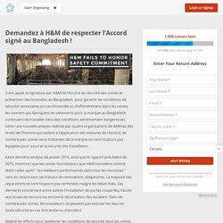 Demandez à H&M de respecter l'Accord signé au Bangladesh !