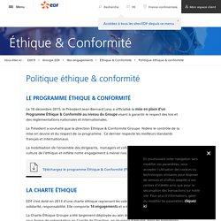 Démarche éthique d'EDF : trois valeurs, une charte et une commission