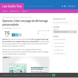 Openoox. Créer une page de démarrage personnalisée – Les Outils Tice