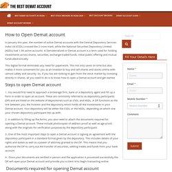 How to Open Demat Account Online - The Best Demat Account