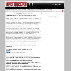 Certificat de signature - dématérialisation des factures