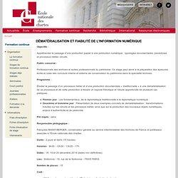 Dématérialisation et fiabilité de l'information numérique
