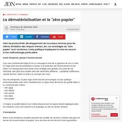 """La dématérialisation et le """"zéro papier"""""""