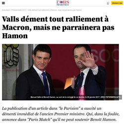 Valls dément tout ralliement à Macron, mais ne parrainera pas Hamon